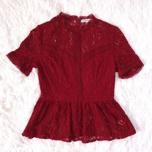 VICI romanticism lace peplum top burgundy